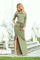 Oliwkowa Dzianinowa Maxi Sukienka w Liście z Rozporkiem