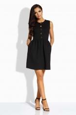 Czarna Sukienka Rozkloszowana bez Rękawów ze Złotymi Guzikami