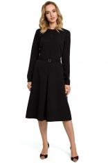 Czarna Elegancka Sukienka do Pracy za Kolano z Paskiem