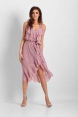 Różowa Asymetryczna Sukienka z Falbankami