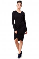 Czarna Dopasowana Sukienka z Asymetrycznymi Ściągaczami