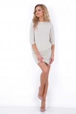 Beżowy Dzianinowy Komplet Sweter i Mini Spódnica