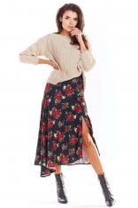 Czarna Długa Asymetryczna Spódnica w Kwiaty