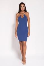Niebieska Sukienka na Cienkich Ramiączkach z Biżuteryjnym Akcentem