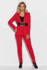 Elegancki Komplet ze Spodniami - Czerwony