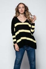 Czarny Oversizowy Sweter w Paski z Dekoltem w Szpic