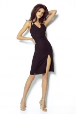 Czarna Mini Sukienka Wiązana na Karku