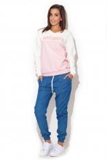 Niebieskie Spodnie Bawełniane z Troczkami