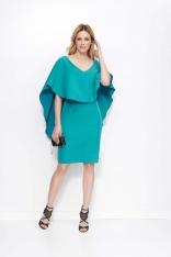 Zielona Sukienka Midi z Peleryną