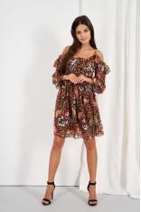 Wzorzysta Sukienka z Odkrytymi Ramionami - Wzór 13