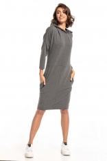 Dzianinowa Sukienka z Kapturem - Szara
