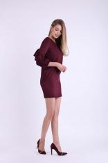 Bordowa Krótka Ołówkowa Sukienka z Ozdobnymi Falbankami