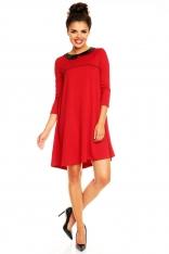 Czerwona Trapezowa Sukienka z Kołnierzykiem