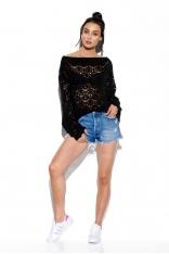 Czarny Lekki Sweter Oversize z Ażurem
