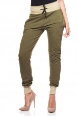Khaki Dresowe Spodnie z Kontrastowymi Ściągaczami