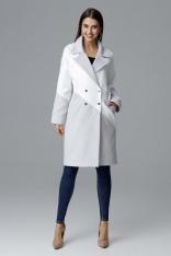 Szaro Biały Dwukolorowy Płaszcz Dwurzędowy