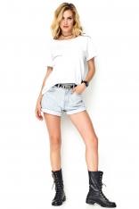 T-shirtowa Biała Bluzka z Ozdobną Kieszonką
