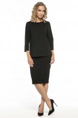 Elegancka Czarna Bluzka z Kołnierzem Jackie Kennedy