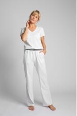 Długie Bawełniane Spodnie do Spania - Ecru