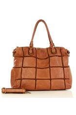 MARCO MAZZINI Włoska torebka skórzany shopper bag vintage leather brąz karmel