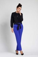 Kobaltowe Stylowe Spodnie w Kant z Wiązanym Paskiem