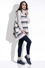 Beżowy Sweter Oversizowy w Paski z Golfem