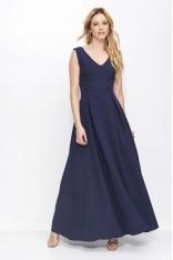 Granatowa Sukienka Długa Rozkloszowana na Szerokich Ramiączkach