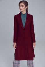 Bordowy Długi Klasyczny Płaszcz z Rozcięciami po Bokach