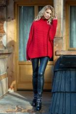 Czerwony Oversizowy Sweter w Prążek z Niską Stójką