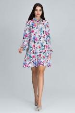 Dziewczęca Sukienka z Wzorem z Falbaną na Dole - Wzór 78