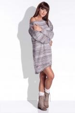Mocca Sukienka Dzianinowa Asymetryczna z Długim Rękawem