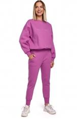 Uniwersalne Dresowe Spodnie na Gumie - Lawendowe