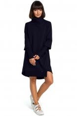 Granatowa Dresowa Asymetryczna Sukienka z Golfem