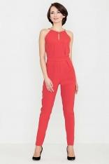 Czerwony Elegancki Kombinezon z Biżuteryjnym Akcentem Wiązany na Szyi