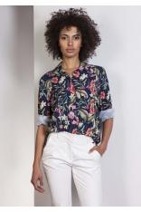 Koszula Oversize z Kieszeniami w Kwiaty