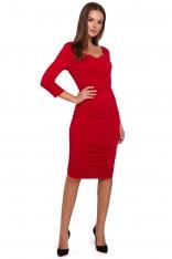 Czerwona Dopasowana Sukienka Midi ze Zmysłowym Dekoltem