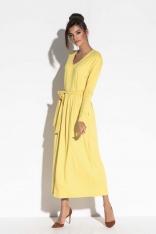 Żółta Długa Sukienka w Serek z Wiązanym Paskiem