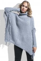 Szary Sweter Ponczo z Frędzlami