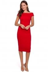 Czerwona Dopasowana Midi Sukienka z Dekoltem w Łódkę