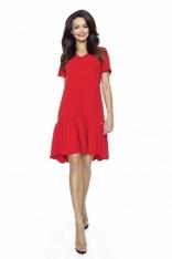 Czerwona Luźna Sukienka z Falbanką