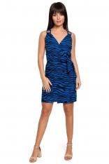 Mini Sukienka na Zakładkę w Zwierzęcy Print - Chabrowa