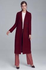 Bordowy Elegancki Długi Płaszcz Dwurzędowy