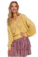 Ażurowy Sweter z Nietoperzowym Rękawem - Żółty