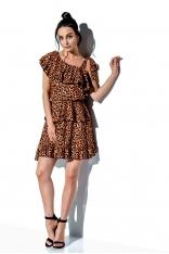 Wzorzysta Sukienka Wiązana na Jedno Ramię - Druk 21