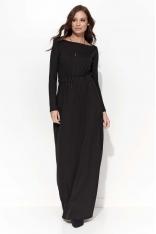 Czarna Długa Sukienka Ściągana w Pasie