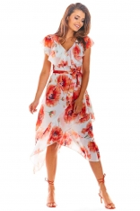 Czerwona Kopertowa Sukienka Midi w Kwiaty z Falbanką