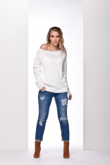 Biały Sweter z Ozdobnym Wiązaniem na Boku