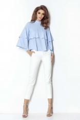 Niebieska Ultrakobieca Bluzka Koszulowa z Falbankami