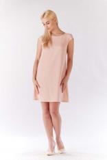 Różowa Sukienka Zwiewna Trapezowa z Mini Rękawkiem