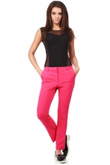Klasyczne Spodnie z Kantem -Różowe
